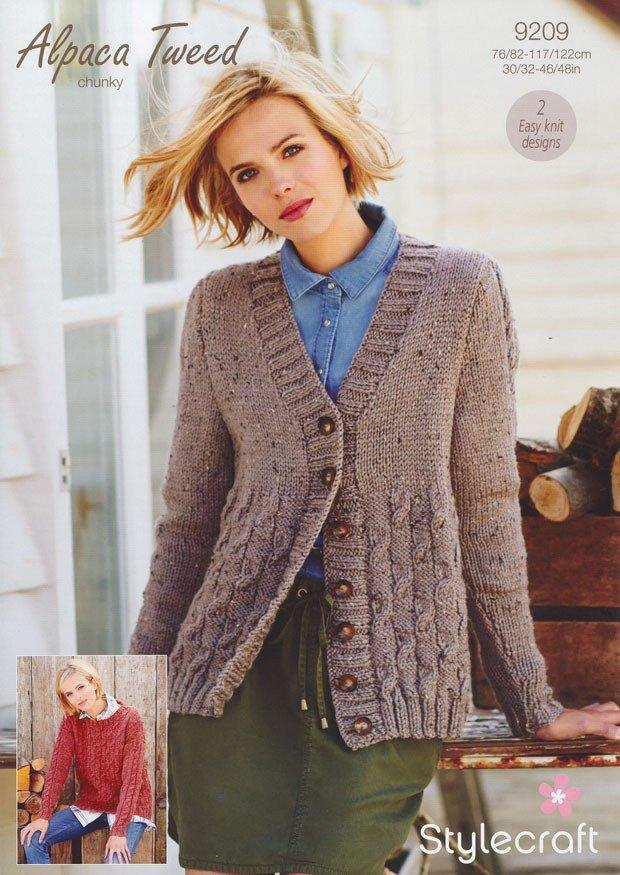 Stylecraft Alpaca Tweed Chunky Pattern 9209  -  Checkerboard Cable Cardigan & Jumper