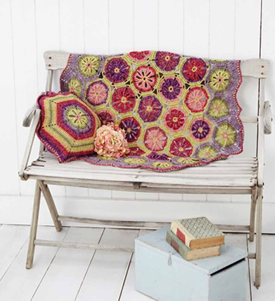 Stylecraft Batik DK Pattern 9298 - Crochet Hexagon Flower Blanket & Cushion