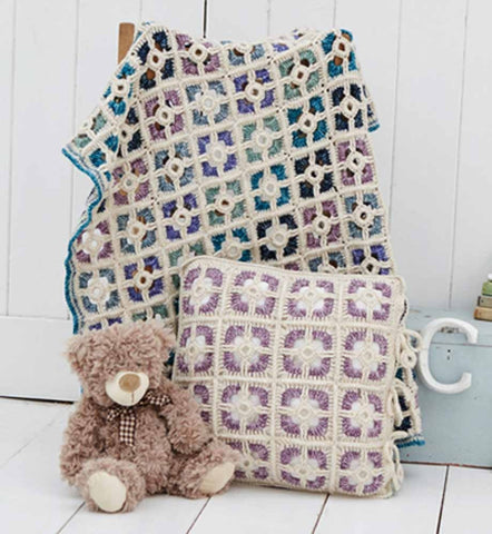 Stylecraft Batik DK Pattern 9300 - Crochet Cot Coverlet & Cushion
