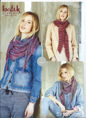 Stylecraft Batik Elements DK Pattern 9409 - Scarfs