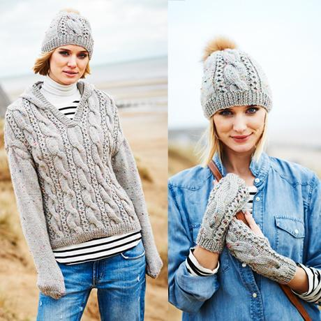 Stylecraft Special Aran with Wool Pattern 9556 Hooded Sweater, Hat & Mitts