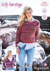 Stylecraft Life Heritage Aran Pattern 9569 - Fisherman's Rib Sweater & Cardigan