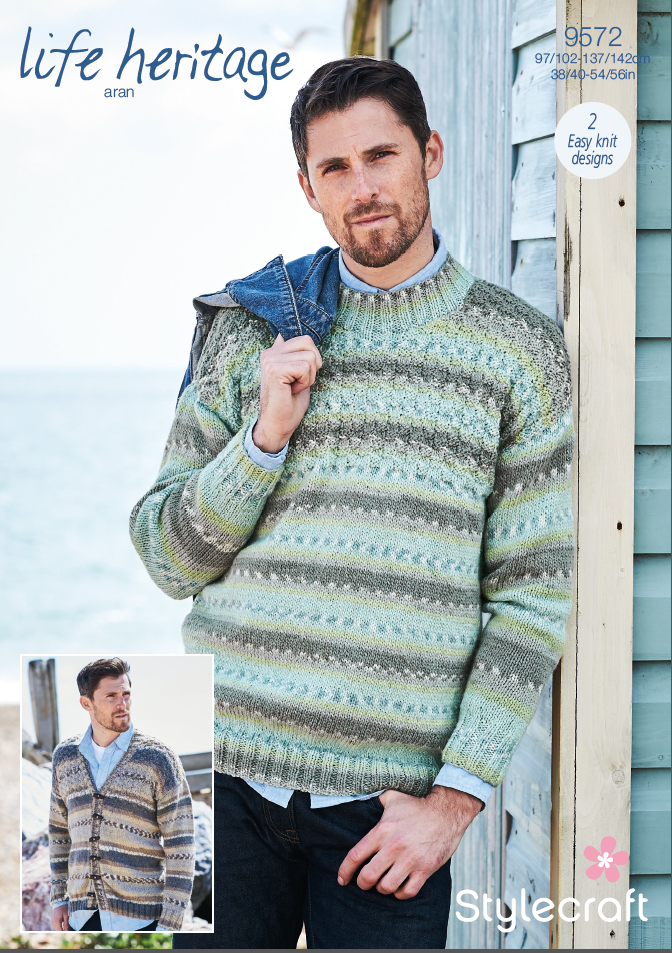 Stylecraft Life Heritage Aran Pattern 9572  Mens Basket Weave Sweater & Cardigan