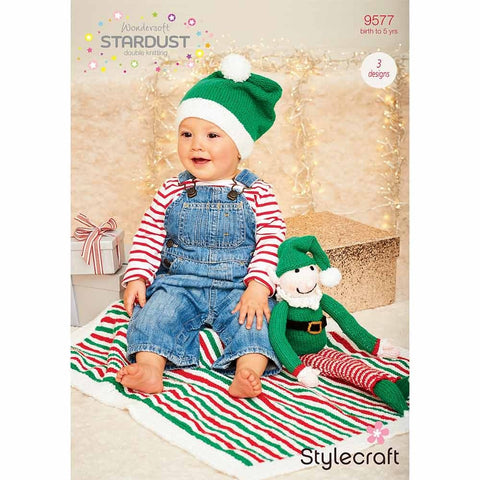Stylecraft Wondersoft Stardust DK Pattern 9577 - Buddy the Elf, Hat & Blanket