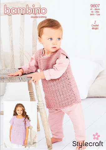 Stylecraft Bambino DK Pattern 9607- Crochet Cabbage Patch Dress