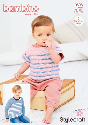 Stylecraft Bambino DK Pattern 9608 - Crochet Striped Top & Sweater