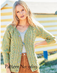 Stylecraft Monet & Jeanie Aran Pattern 9619 - Sweater & Cardigan