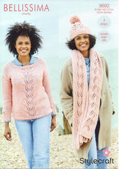 Stylecraft Bellissima Chunky Pattern 9692 - Sweater, Hat & Scarf