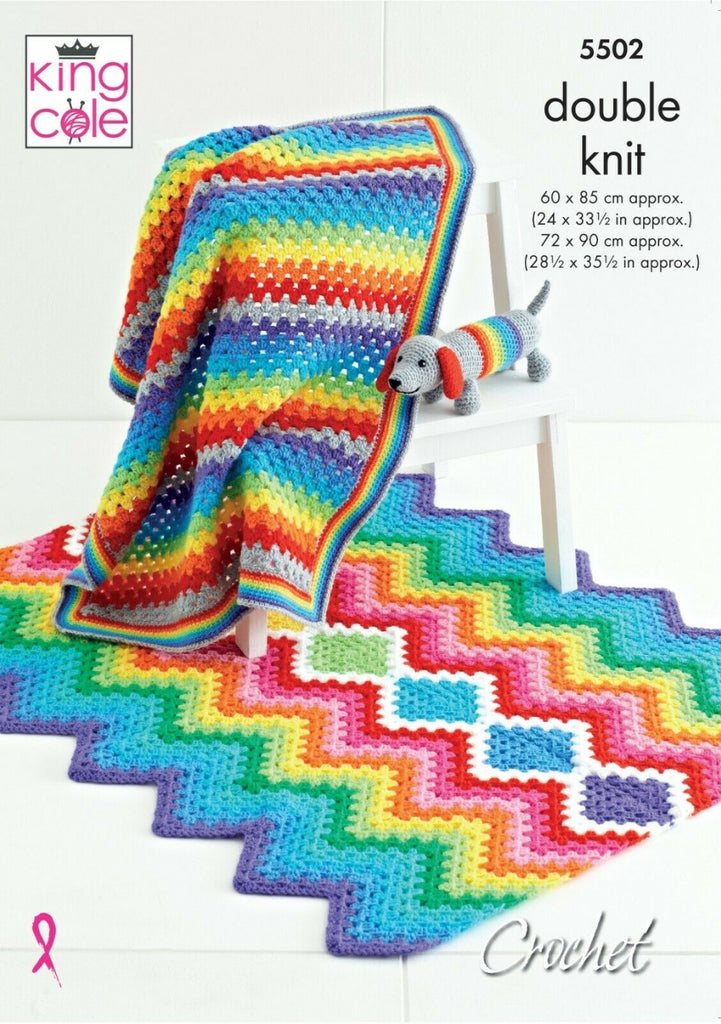 King Cole Big Value DK Pattern 5502 - Rainbow Baby Blankets & Sausage Dog