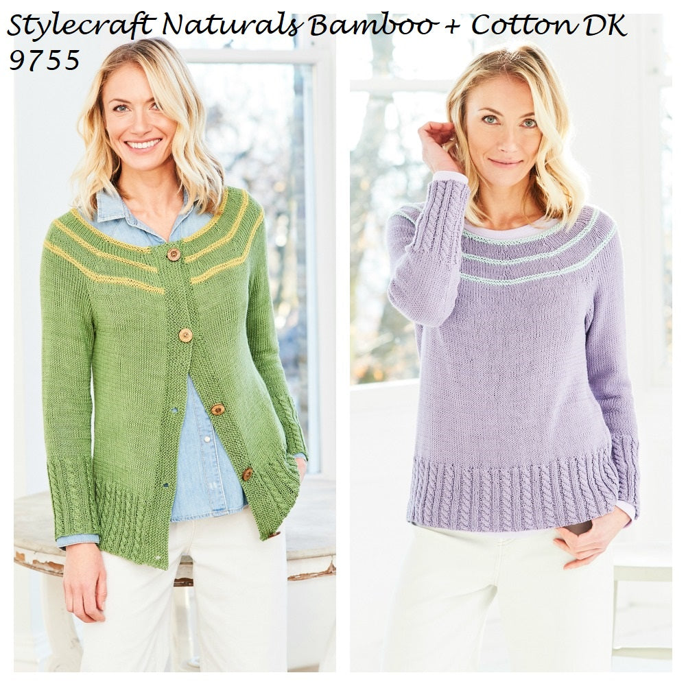 Stylecraft Naturals Bamboo + Cotton DK Pattern 9755 - Sweater and Cardigan