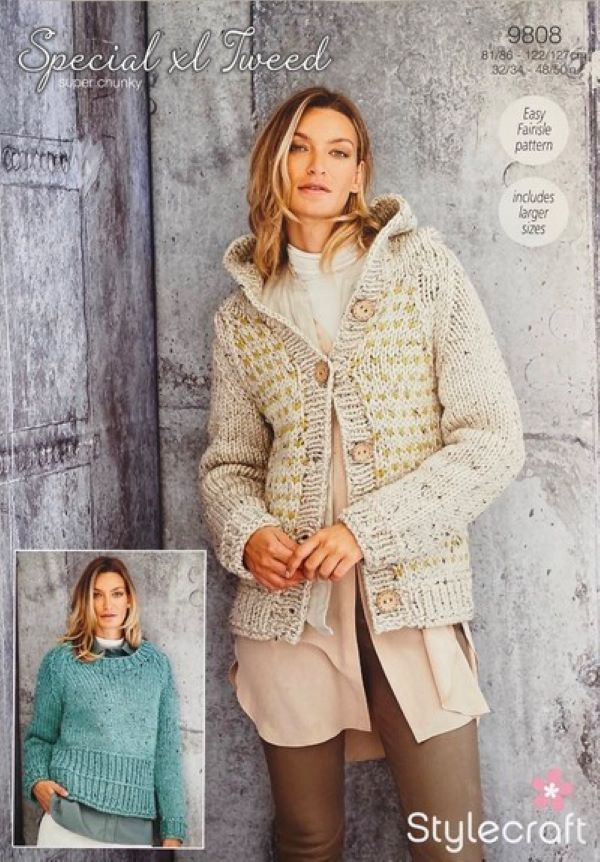 Stylecraft Special XL Tweed Super Chunky Pattern 9808 - Jacket & Sweater