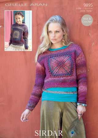 Sirdar Giselle Aran Pattern 9895 - Sweater with Crochet Insets