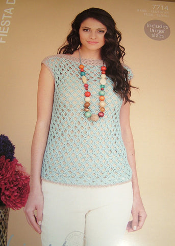 Hayfield Fiesta DK Pattern 7714 - Crocheted Top