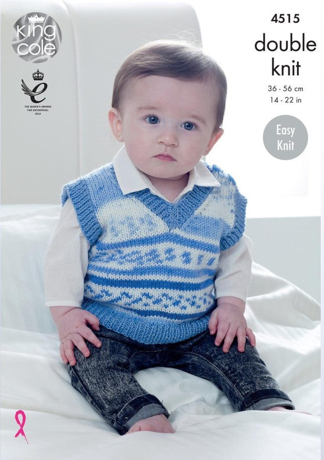 King Cole Cherish & Cherished DK Pattern 4515 - Slipovers