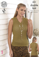 King Cole Smooth DK Pattern 4521 - Round & V Neck Lace Tops