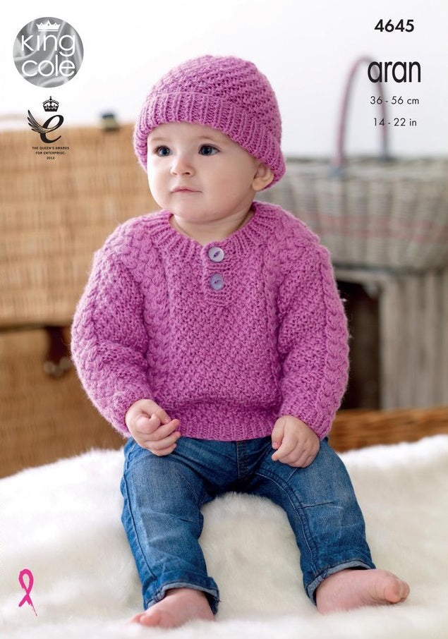 King Cole Comfort Aran Pattern 4645 - Sweaters, Trousers, Hat & Mittens