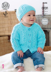 King Cole Comfort Aran Pattern 4646 - Sweater, Cardigan, Hat, Scarf & Bootees
