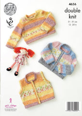 King Cole Splash DK Pattern 4656 - Waistcoat, Cardigan & Sweater