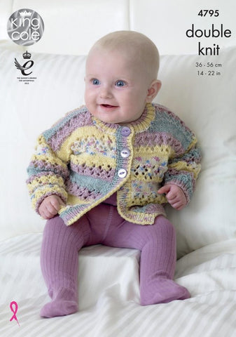 King Cole Drifter DK for Baby Pattern 4795 - Cardigan, Hat & Blanket