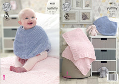King Cole Yummy Pattern 4821 - Poncho & Blanket