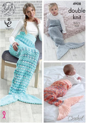 King Cole Baby Drifter, Splash, Glitz & Big Value - Crochet Pattern 4908 - Mermaid Tail Blanket