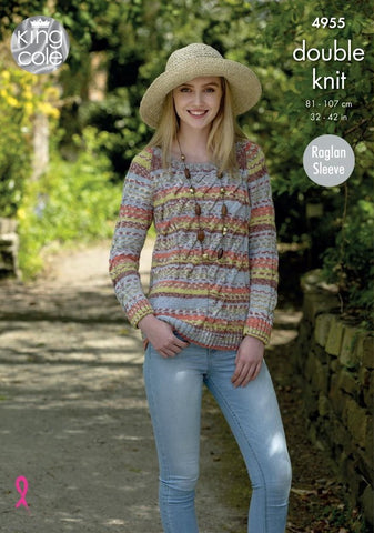 King Cole Drifter DK Pattern 4955 - Sweater & Cardigan