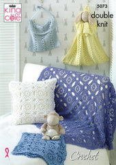 King Cole Cottonsoft DK Crochet Pattern 5073 - Blankets, Cushion, Toy Bag & Nappy Bag