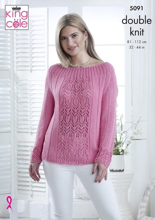 King Cole Bamboo Cotton DK Pattern 5091 - Sweater & Top