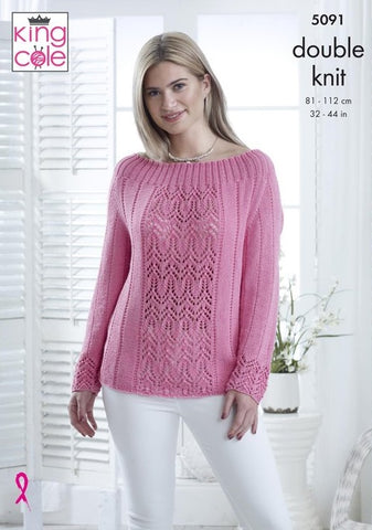 13a5b1fc8d02 King Cole Bamboo Cotton DK Pattern 5091 - Sweater   Top