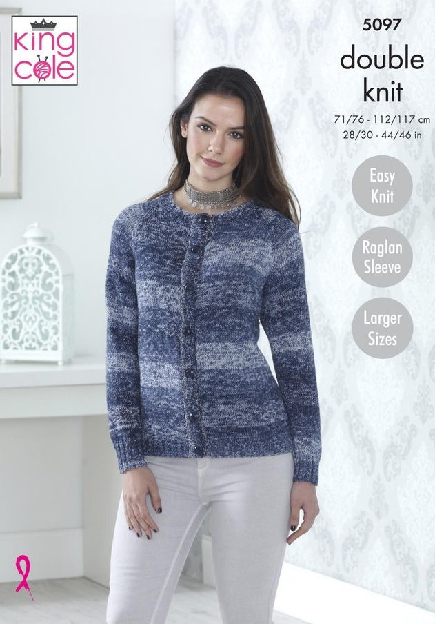 King Cole Vogue DK Pattern 5097 - Cardigan & Short Sleeved Sweater