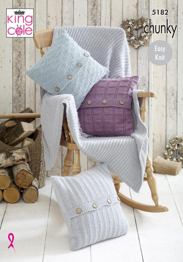 King Cole's Timeless Chunky Pattern 5182 -  Blanket & Cushions