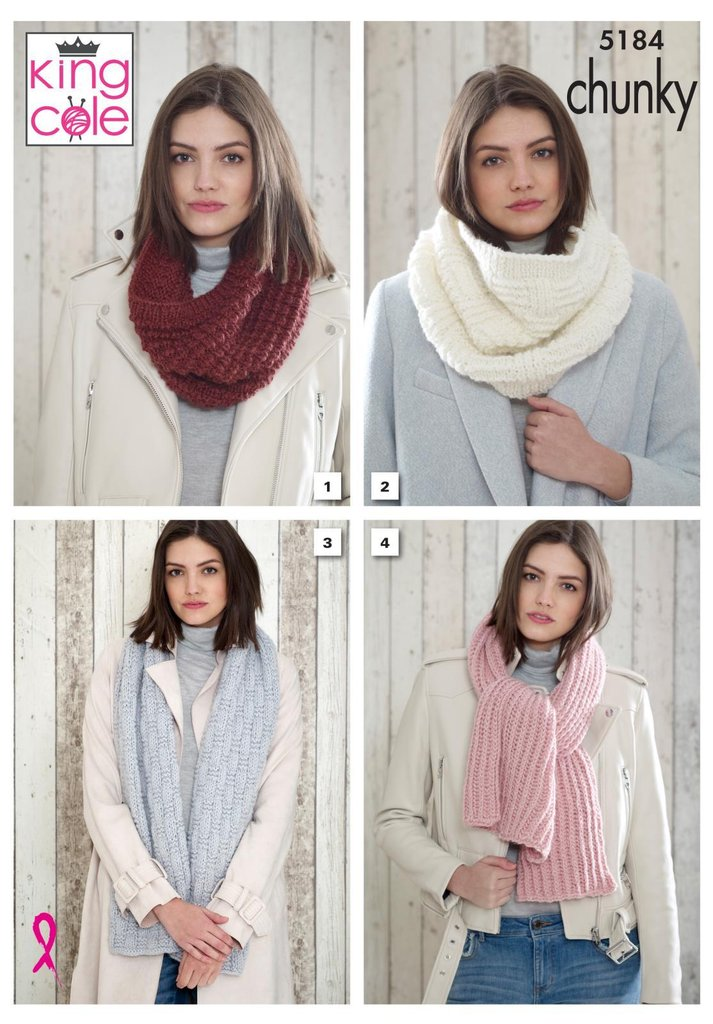 King Cole Timeless Chunky Pattern 5184 - Snoods & Scarves