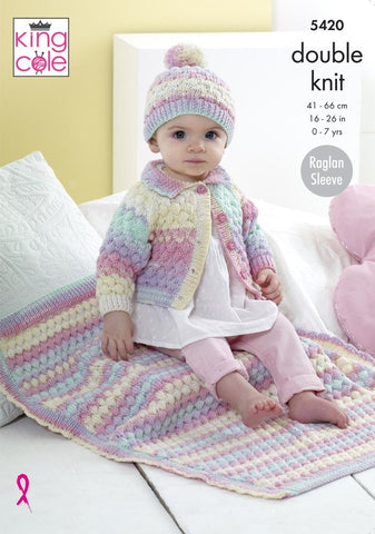 King Cole Beaches DK Pattern 5420 - Cardigan, Hat & Blanket