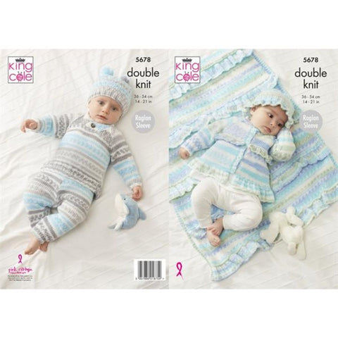 King Cole Cherish DK Pattern 5678 - Sweater, Pants, Jacket, Hat and Blanket