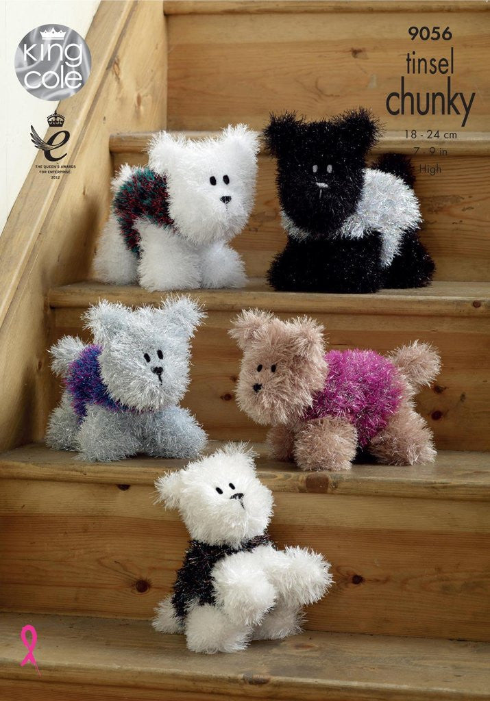King Cole Tinsel Chunky Knitting Pattern 9056 - Westie Dogs