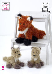 King Cole Tinsel Chunky Knitting Pattern 9110 - Tinsel Fox