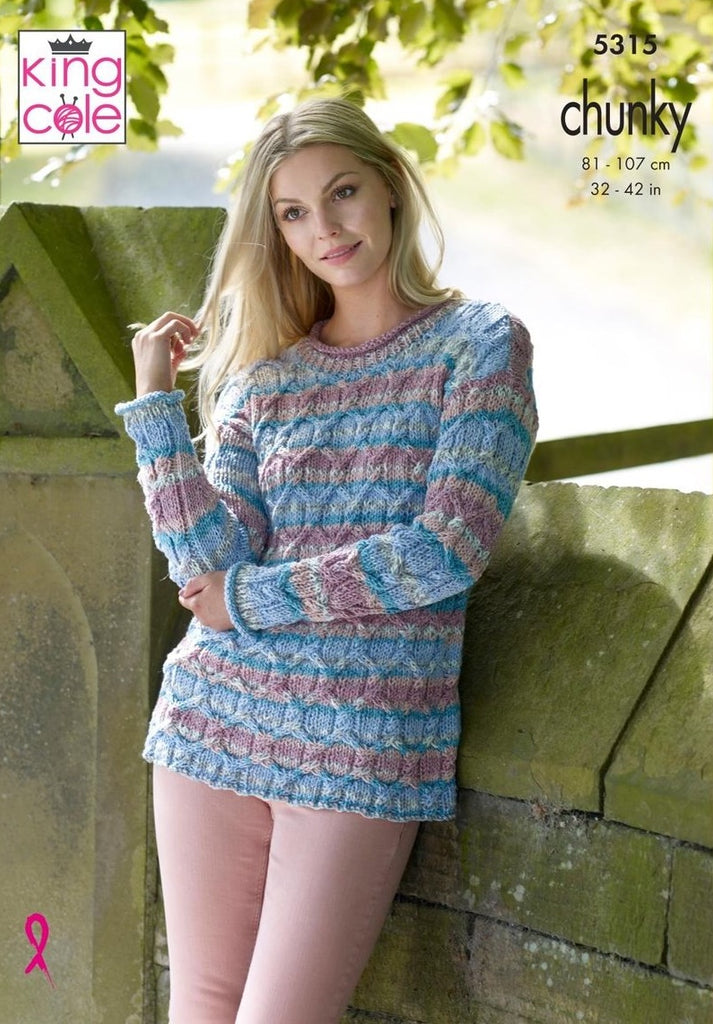 King Cole Drifter Chunky Pattern 5315 - Sweater & Cardigan