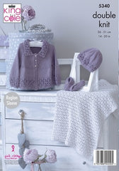 King Cole Finesse Cotton Silk DK Pattern 5340 - Matinee Jacket, Hat, Shoes & Blanket