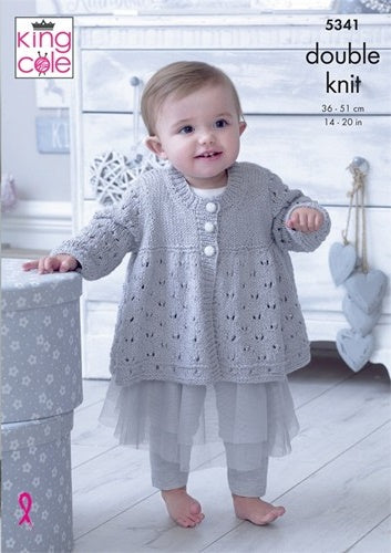 King Cole Finesse Cotton Silk DK Pattern 5341 Matinee Jacket, Hat, Bootees & Blanket