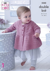 King Cole Finesse Cotton Silk DK Pattern 5343 Matinee Jacket, Hat, Bootees & Blanket