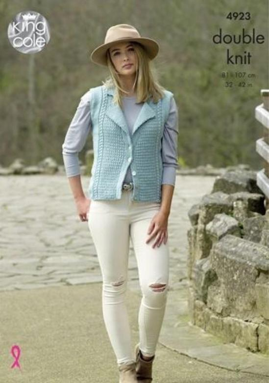 King Cole Majestic DK Pattern 4923 - Ladies' Cardigan & Waistcoat