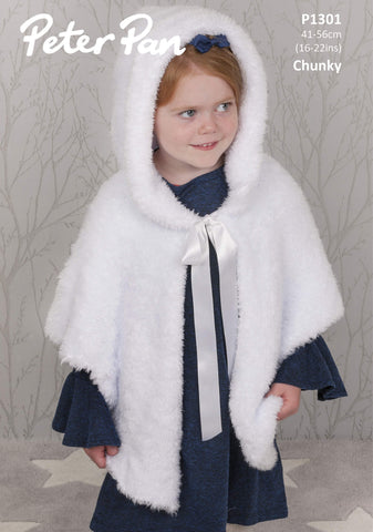Peter Pan Precious Chunky Pattern P1301 - Hooded Cape