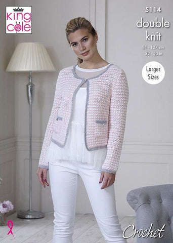 King Cole Finesse Cotton Silk DK Pattern 5114  Crochet Jacket & Top
