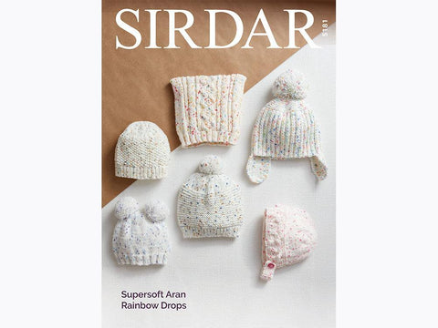 Sirdar Supersoft Aran Rainbow Drops Pattern 5181 - Hats
