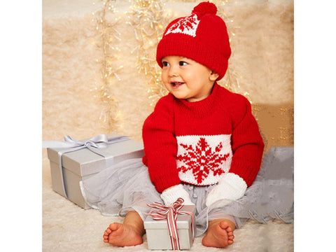 Stylecraft Wondersoft Stardust DK Pattern 9576 Christmas Snowflake Sweater, Hat & Mittens