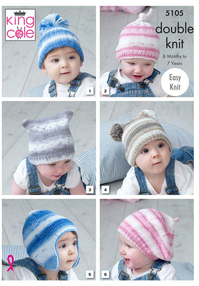 King Cole Cottonsoft Baby Crush DK Pattern 5105 - Hats