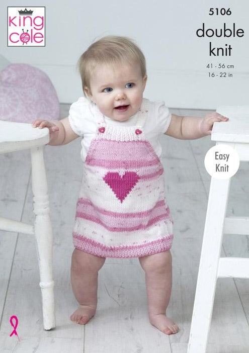 King Cole Cottonsoft Baby Crush DK & Cottonsoft DK Pattern 5106 - Pinafores