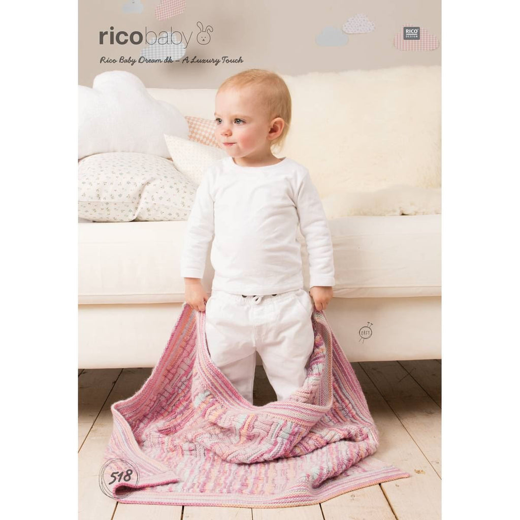 Rico Baby Dream DK - A Luxury Touch Pattern 518 - Textured Blanket, Cabled Blanket & Basket Stitch Blanket