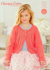 Stylecraft Classique Cotton Pattern 9134 - Girls' Cardigans