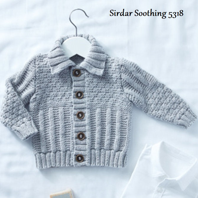 Sirdar Snuggly Soothing DK Pattern 5318 - Collared Cardigan